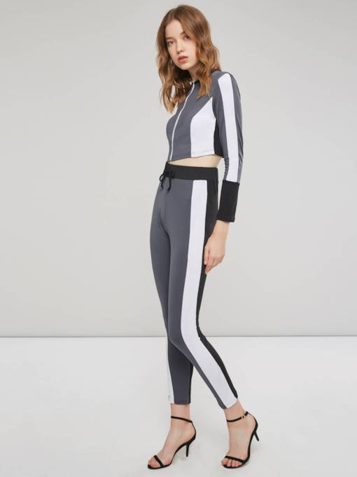 Plain Round Neck Hoodie and Pants Women's Two Piece Set