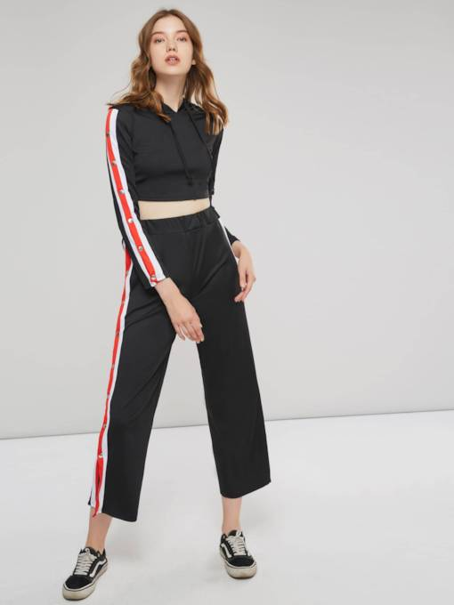 Stripe Side Hollow Hoodie and Pants Women's Two Piece Set