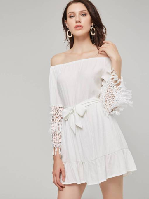 Off Shoulder Hollow Women's Day Dress