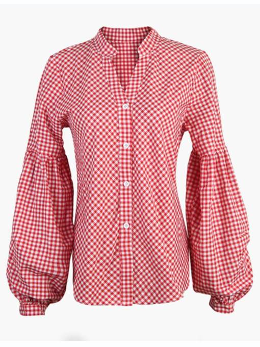 Lantern Sleeve Plaid Print Single-Breasted Women's Shirt