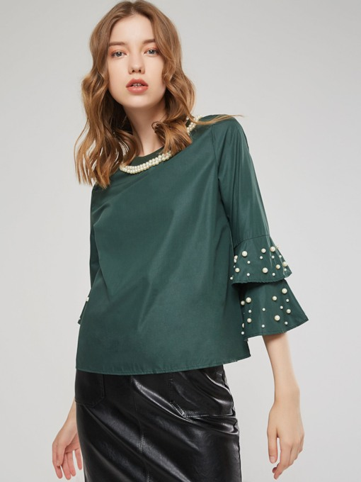 Bead Round Neck Flare Sleeve Women's T-Shirt