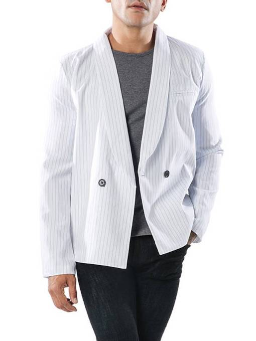 Notched Lapel Straight Stripe Double-Breasted Men's Blazer