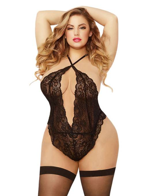 Backless Halter See-Through Plus Size Teddy