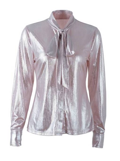 Metallic Color Tie Neck Single-Breasted Women's Shirt