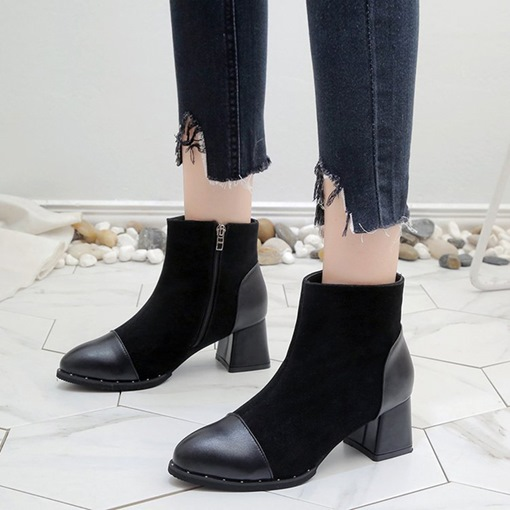 Chunky Heel Round Toe Side Zipper Patchwork Trendy Women's Ankle Boots