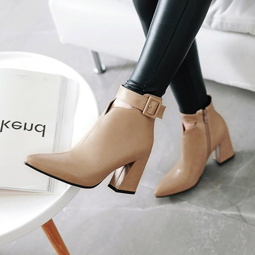Pointed Toe Side Zipper Chunky Heel Buckle Women's Ankle Boots