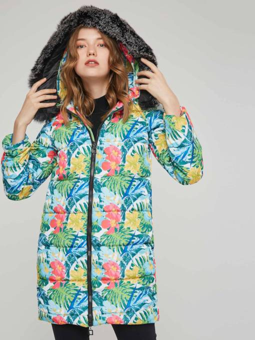 Floral Print Faux Fur Hooded Women's Cotton Padded Jacket