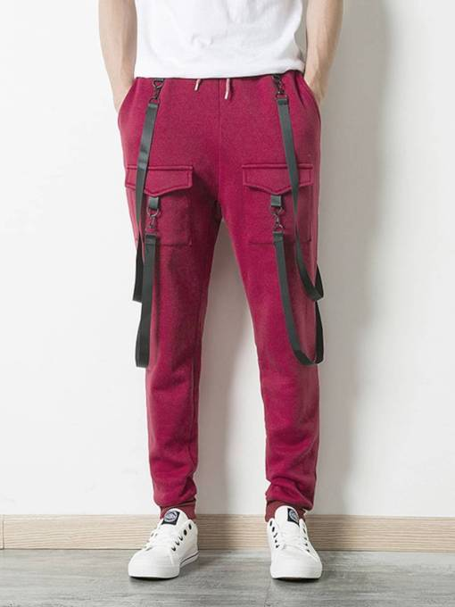 Slim Hip-hop Belt Match Lace-Up Men's Pencil Pant