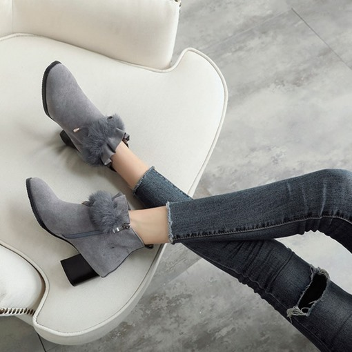 Suede Round Toe Side Zipper Chunky Heel Ladylike Women's Ankle Boots