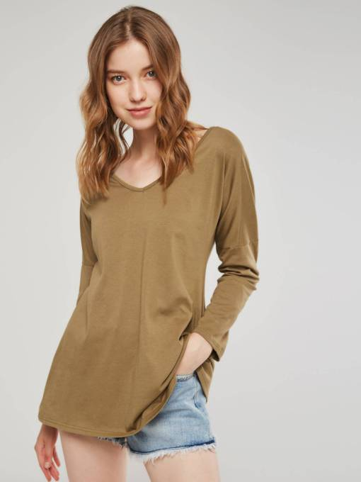 Plain Mid Length V-Neck Basic Women's T-Shirt