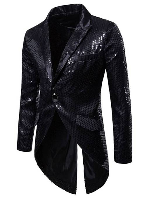 Notched Lapel Asymmetric Sequins Straight Men's Blazer