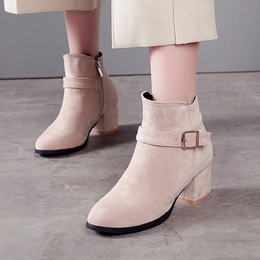 Round Toe Side Zipper Chunky Heel Buckle Plain Women's Ankle Boots