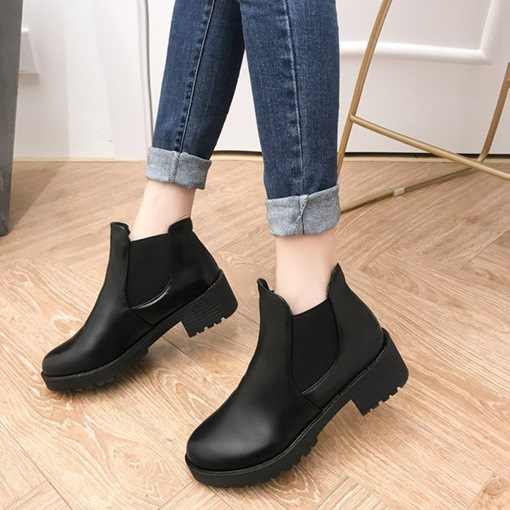 Round Toe Slip-On Block Heel Platform Casual Chelsea Ankle Boots