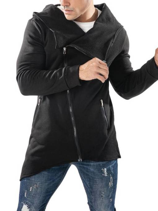 Slim Diagonal Zipper Hooded Asymmetric Plain Men's Hoodie