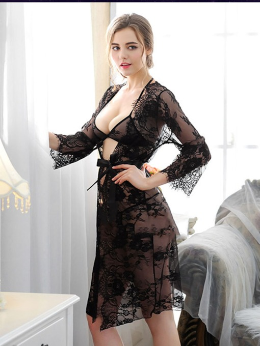 Eyelash Cardigan Lace-Up See-Through Long Nightgown