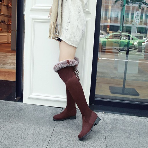Suede Round Toe Lace-Up Back Block Heel Short Floss Snow Boots