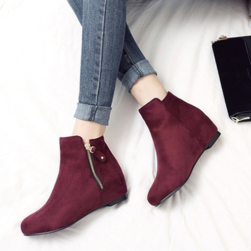 Suede Round Toe Side Zipper Plain Elevated Women's Ankle Boots
