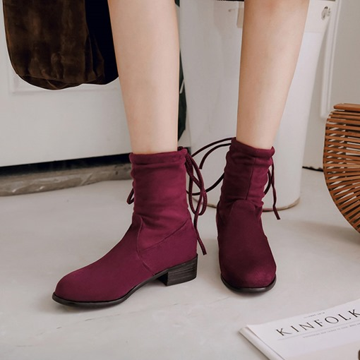 Round Toe Suede Lace-Up Back Block Heel Casual Women's Ankle Boots