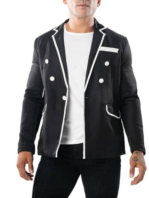 Straight Buttons Faux Pockets Decorated Men's Blazer