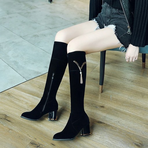 Suede Side Zipper Chunky Heel Fringe Sequin Exquisite Women's Long Boots