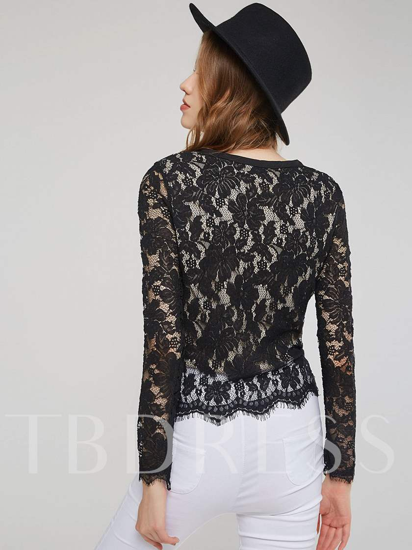 Lace Double-Layer Long Sleeve Women's Blouse