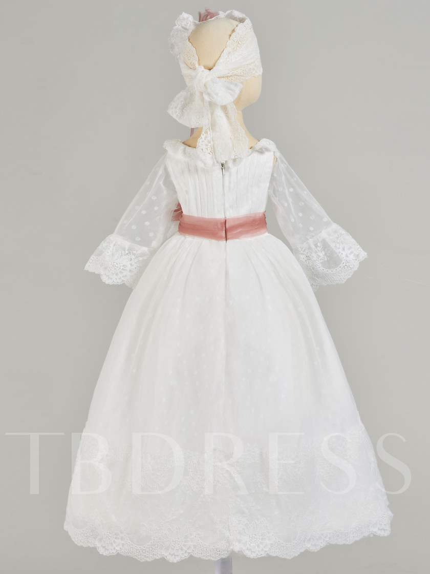 Scoop Neck Sleeves Lace Baby Girl's Christening Gown