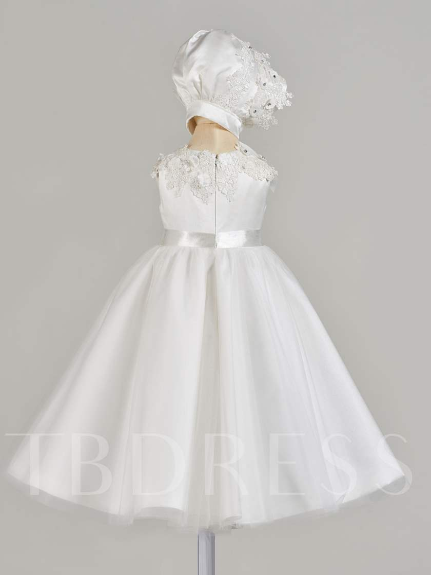 Lace Appliques Beading Baby Girl's Christening Gown