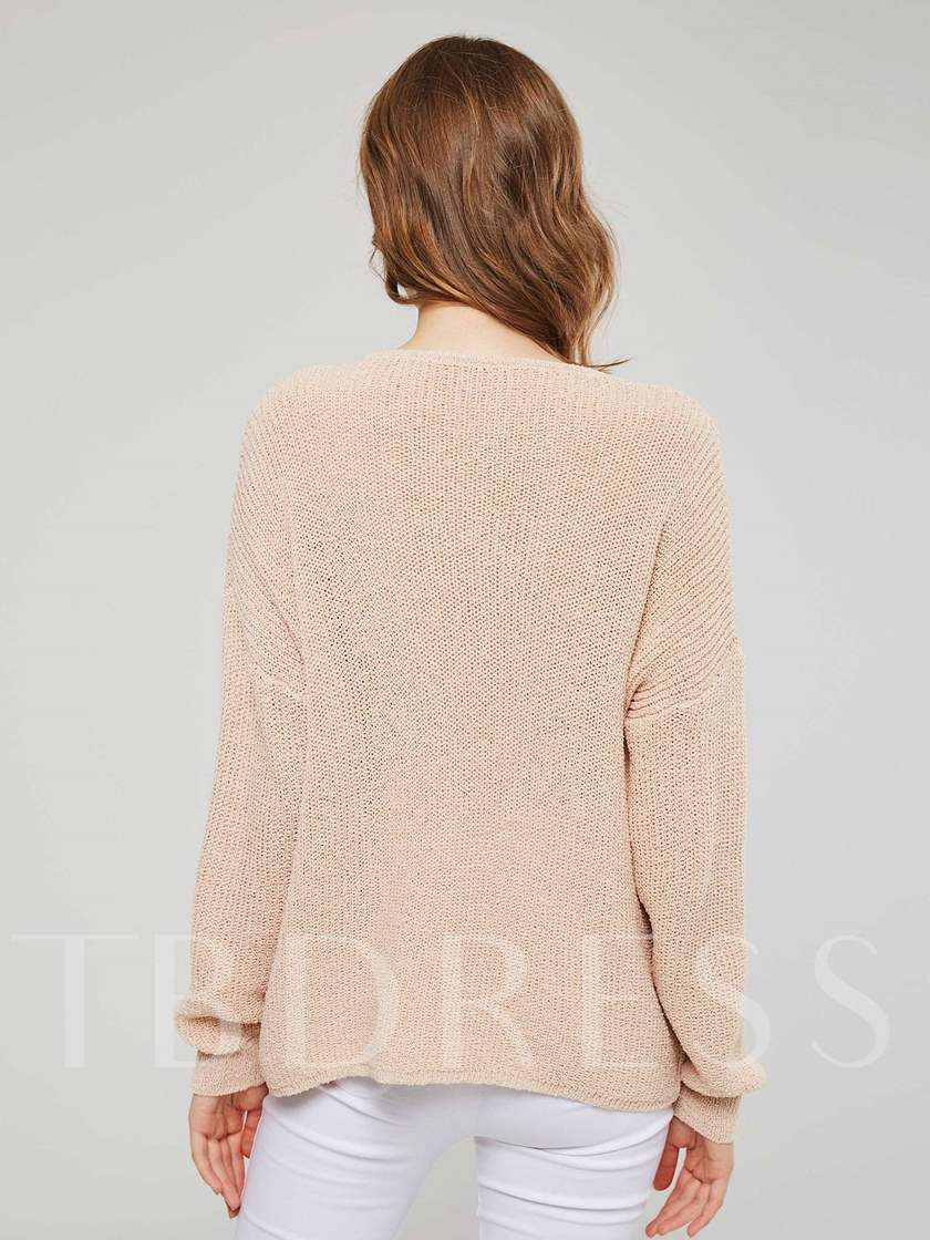 Sweet V-Neck Single-Breasted Women's Sweater Coat