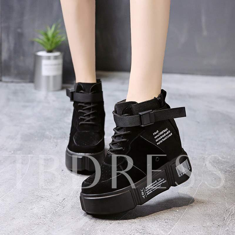 Buy Suede Zipper Round Toe Cross Strap Platform Chic Women's Sneaker, Spring,Fall,Winter, 13427212 for $37.41 in TBDress store