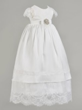 Lace Cap Sleeves Long Baby Girl's Christening Gown