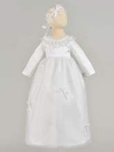 Pearls Scoop Neck Bowknot Baby Girl's Christening Gown