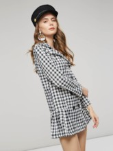 V-Neck Plaid Double-Breasted Women's Long Sleeve Dress