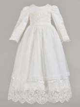 Long Sleeve Lace Appliques Baby Girl's Christening Gown