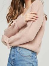 Tie Sleeve Round Neck Pure Color Women's Sweater