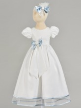 Bowknot Short Sleeve Lace Christening Gown for Girl Baby