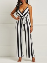 Ladylike Stripe Full Length Belt Slim Women's Jumpsuit