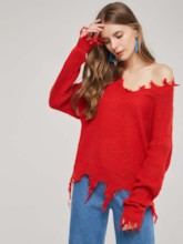 Ripped Batwing Sleeve Solid Color Women's Sweater