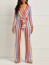 Full Length Sexy Lace Stripe Mid-Waist Women's Jumpsuits