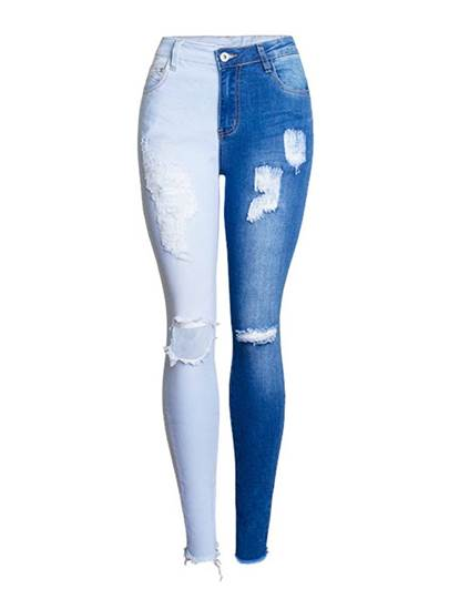 Color Block Patchwork Hole Womens Destroyed Jeans 13427721