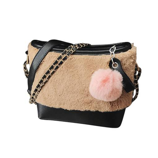 Warm Barrel Shaped Patchwork Women Shoulder Bag
