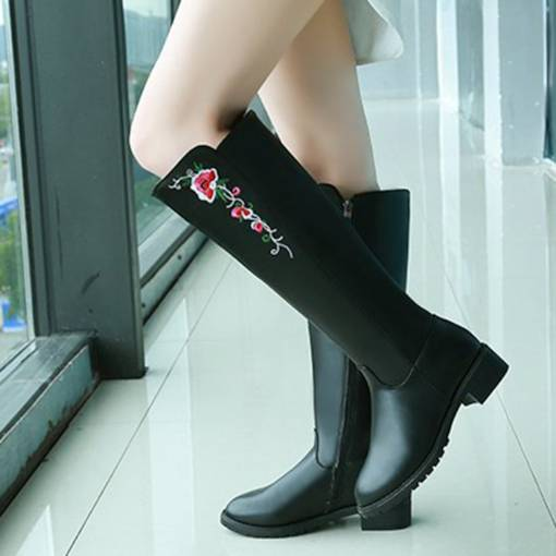 Round Toe Side Zipper Block Heel Casual Floral Embroidered Boots