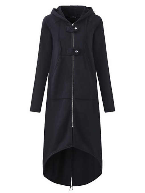 Hooded FleeceLong Length Zipper Up Women's Trench Coat