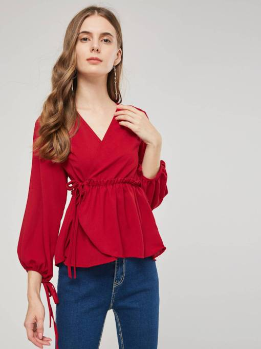 Lantern Sleeve Wrapped Design Lace Up Women's Blouse