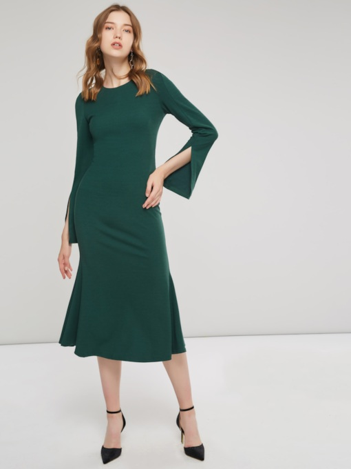 Hunter Split Elegant Women's Long Sleeve Dress