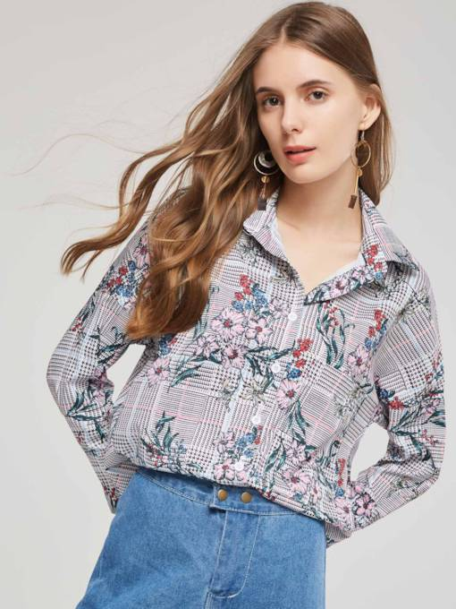 Floral Houndstooth Plaid Floral Print Single-Breasted Women's Shirt