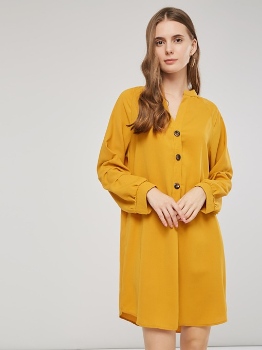 V-Neck Single-Breasted Women's Long Sleeve Dress