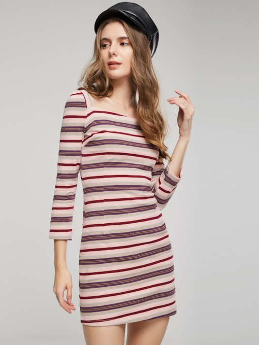 Striped Square Neck Women's Bodycon Dress