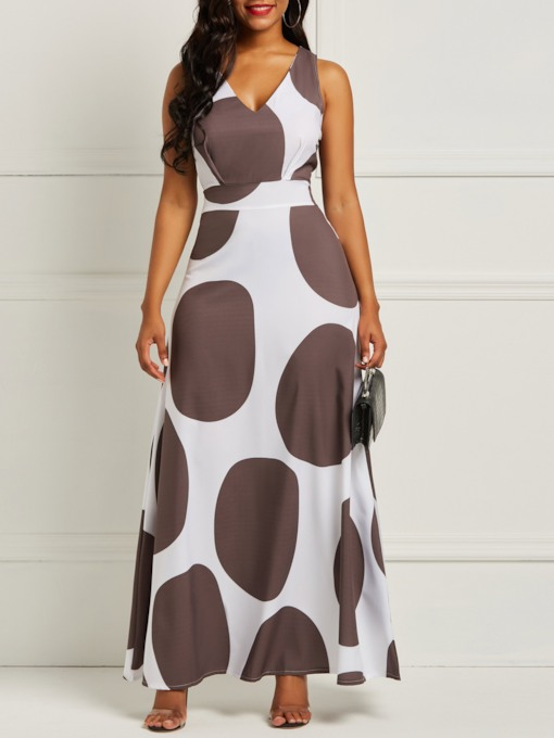 V-Neck Sleeveless Print Polka Dots Women's Maxi Dress