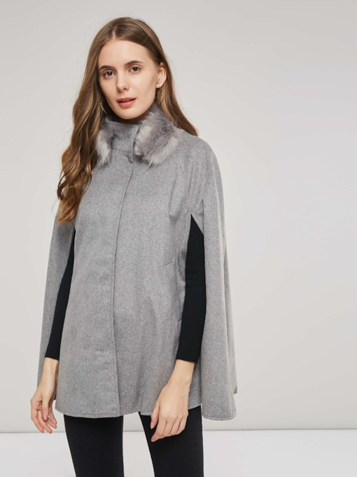 Elegant Hooded Faux Fur Women's Cape Coat