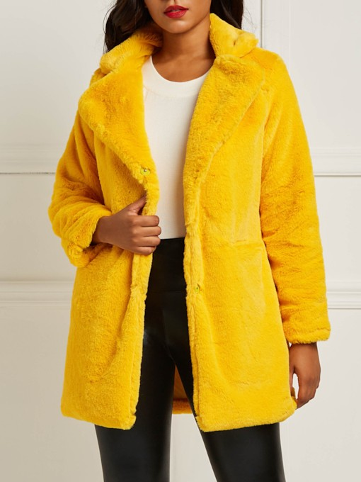 Plain Mid-Length Teddy Women's Faux Fur Overcoat